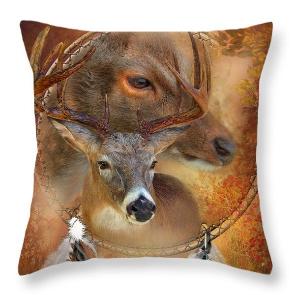 Dream Catcher - Autumn Deer Throw Pillow by Carol Cavalaris. Also available on a matching Duvet Cover as well as fine art print.