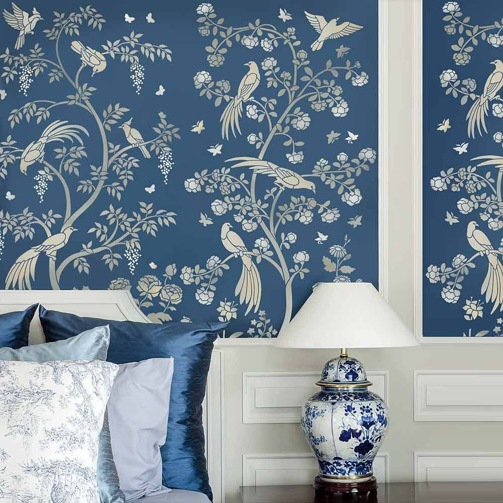 Birds and Roses Chinoiserie Wall Mural Stencil DIY Asian