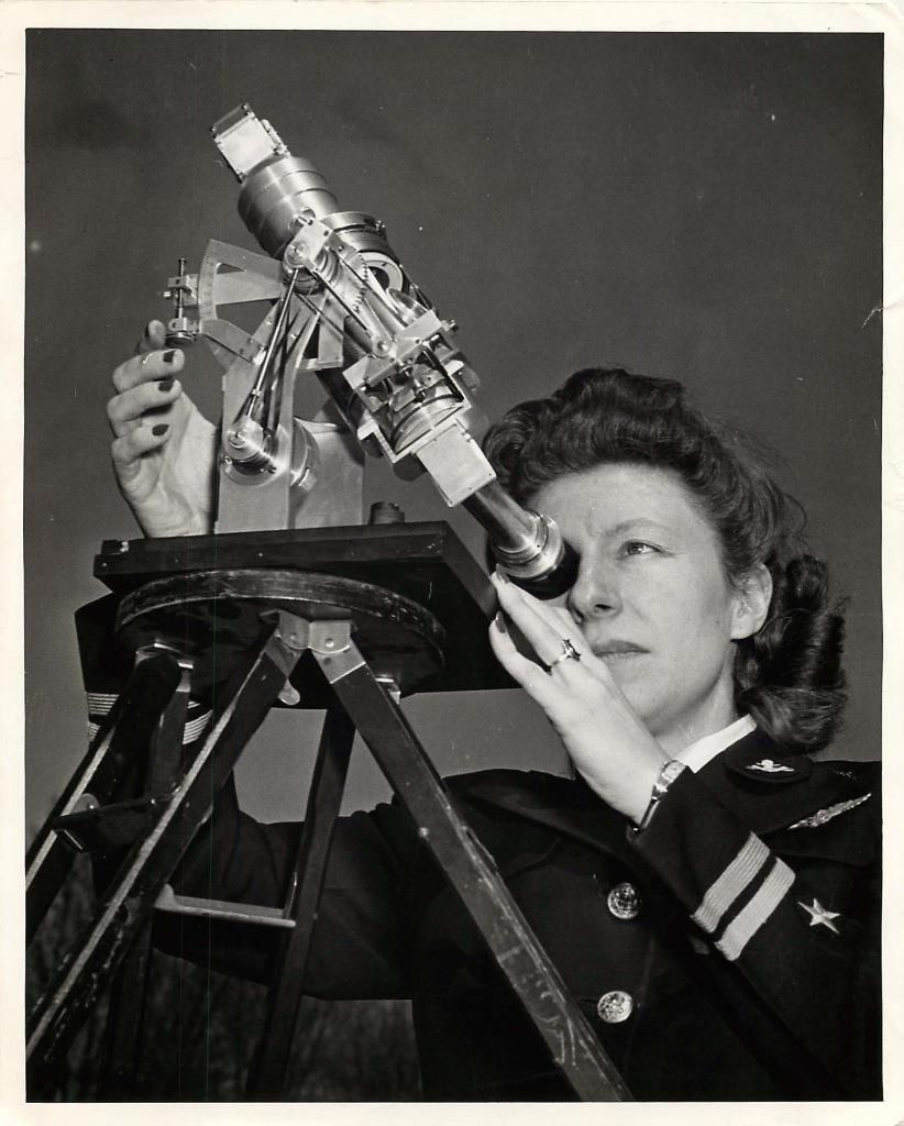 1946- Lt. Francis Biadasz using a new two-star aircraft sextant under U.S. Navy study and test.