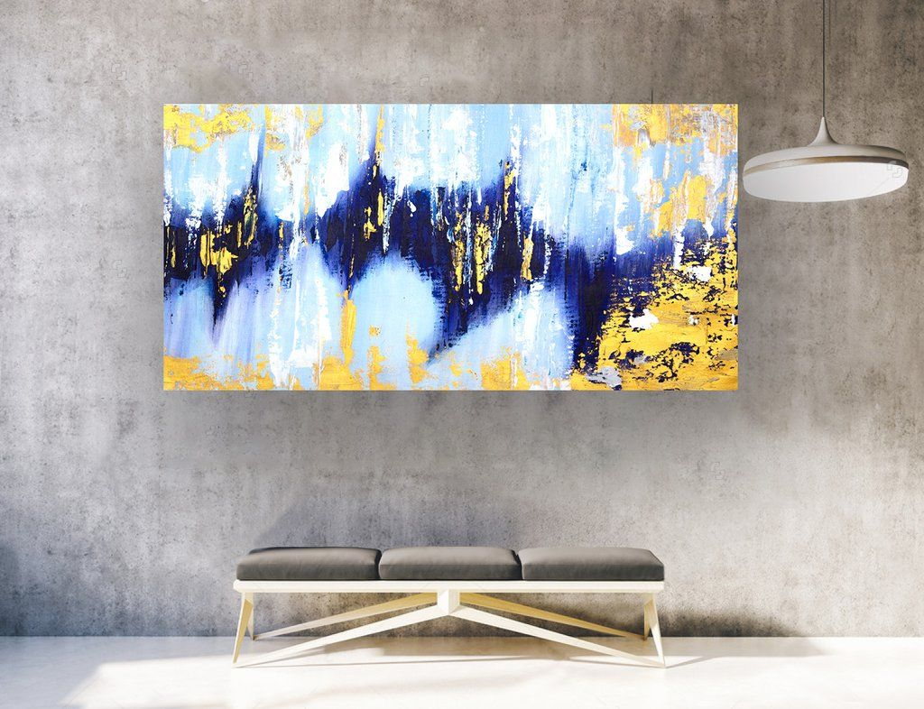 Extra Large Abstract Painting On Canvas Panaromic Wide La0570b