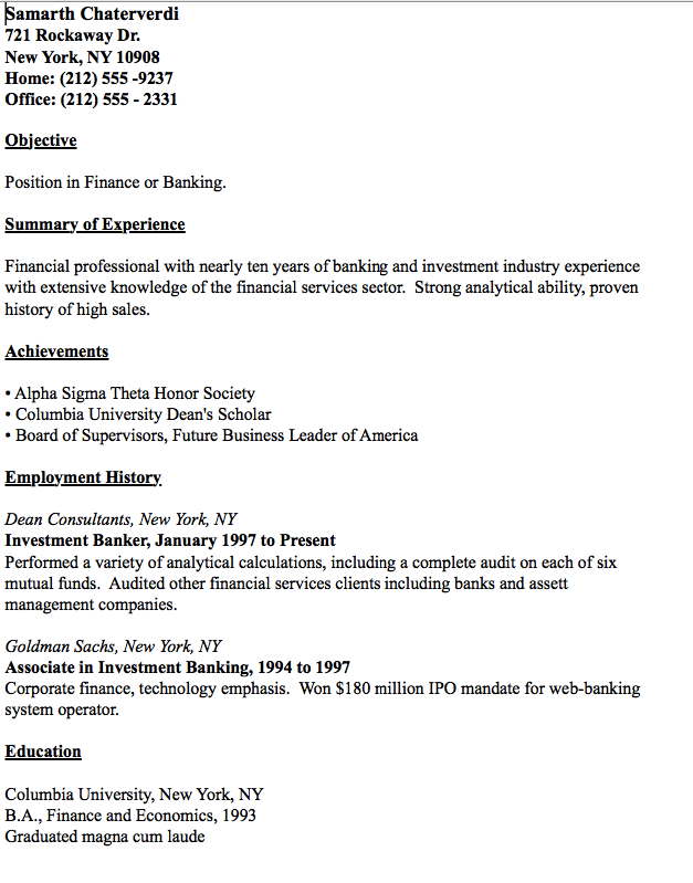 Example Of investment Banker Resume httpresumesdesigncom