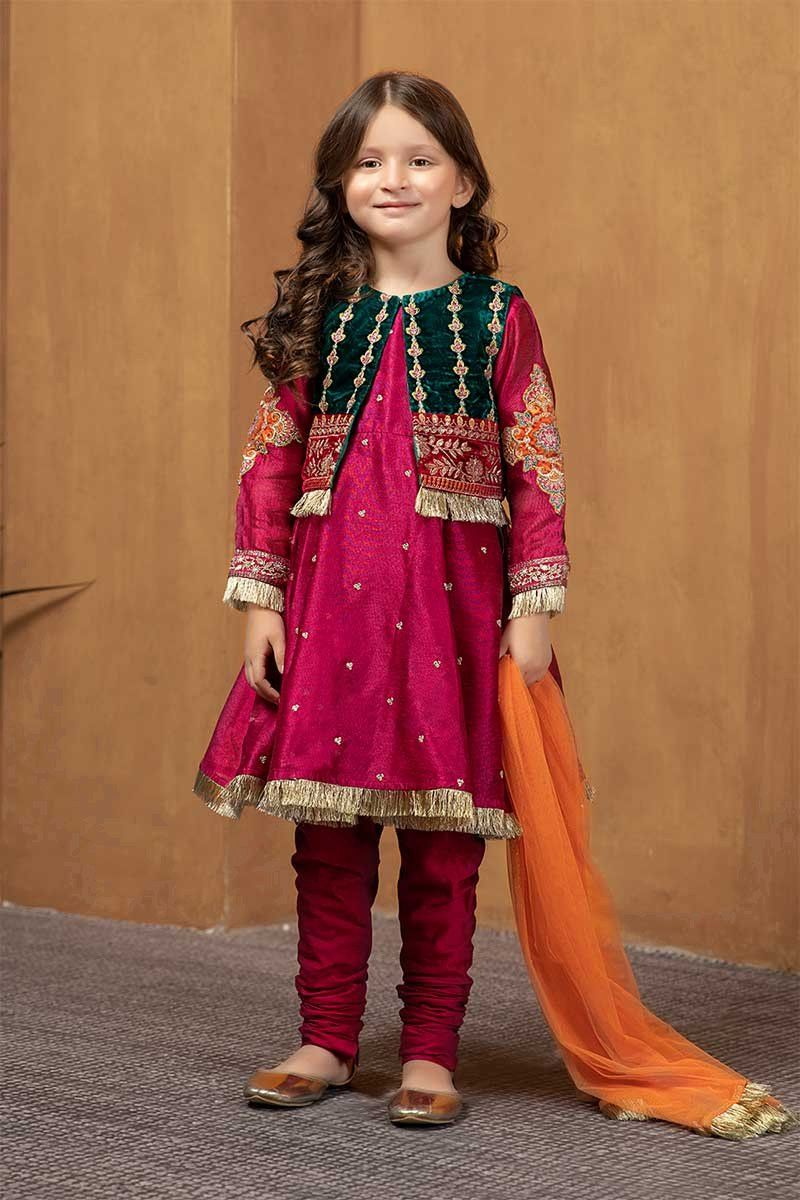 Maria B Fancy Kids Dresses Designs For Girls 2020 21 Collection In 2020 Dresses Kids Girl Kids Designer Dresses Pakistani Kids Dresses