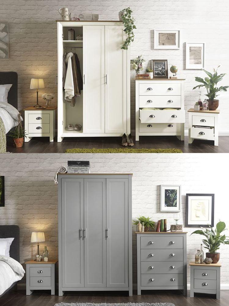 Best Lancaster Range 4 Piece Set 3 Door Wardrobe Bedside Table 400 x 300