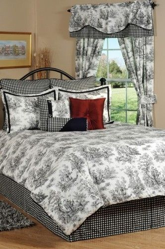 chair slipcovers ideas costco chairs folding jamestown black & white toile bedding comforter ensemble   and home decor ...