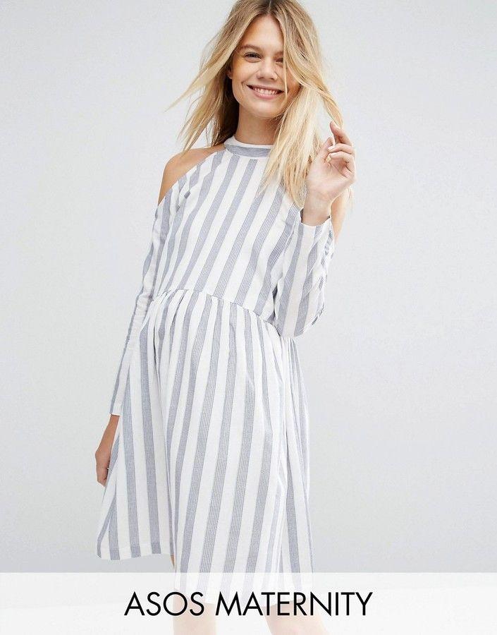 1d7a54168c73d Asos Maternity Cold Shoulder Cotton Stripe Smock Dress   Maternity ...