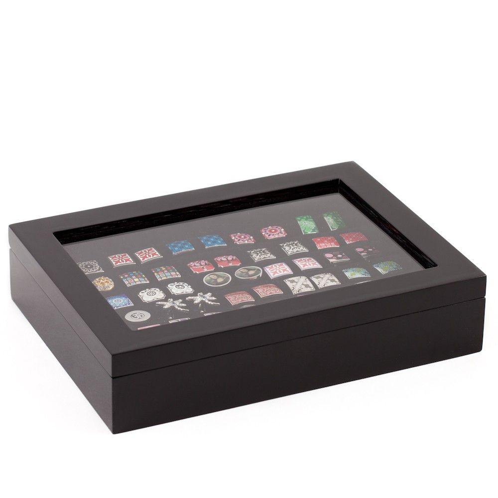 Exceptionnel 36 Pair Black Cufflink Storage Case
