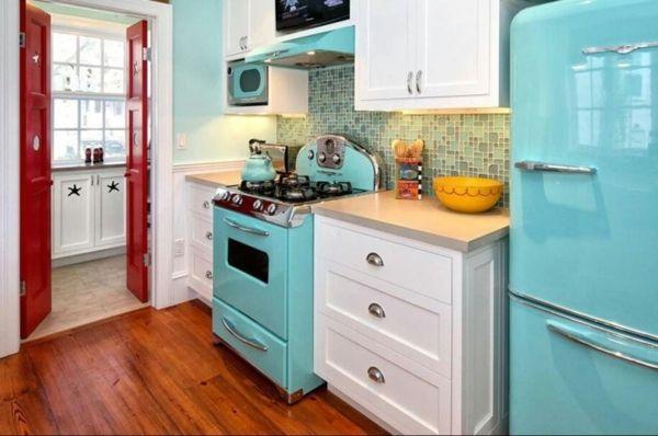 Retro Küche retro küchen kühlschrank kochherd grün idee wohnungseinrichtung