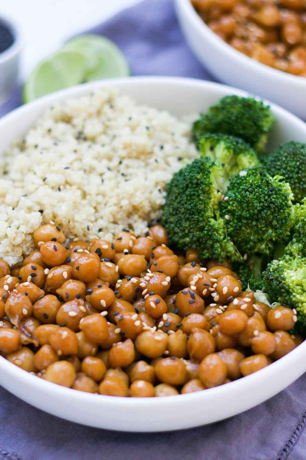 Vegan Sticky Sesame Chickpea Recipe Eat With Clarity Recipe Chickpea Recipes Vegan Recipes Healthy Healthy Crockpot Recipes