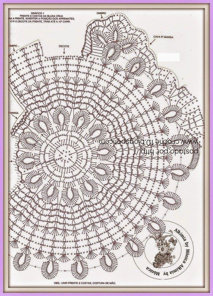 Todo crochet: Blusa tejida al crochet con motivo circular | de todo ...