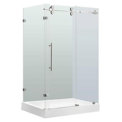 Vigo Winslow 48 125 In X 79 875 In Frameless Bypass Shower Enclosure In Chrome With Clear Glass And Right Base Vg6051chcl48wr Glass Shower Enclosures Corner Shower Kits Frameless Shower Enclosures