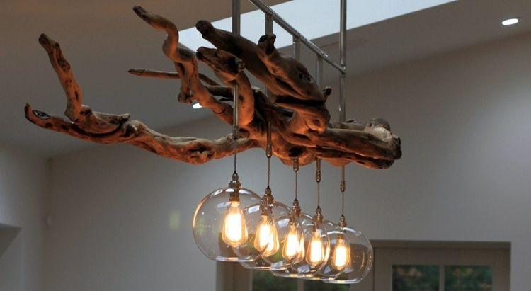 lampe bois flotté et verre- chandelier vintage avec ampoules à