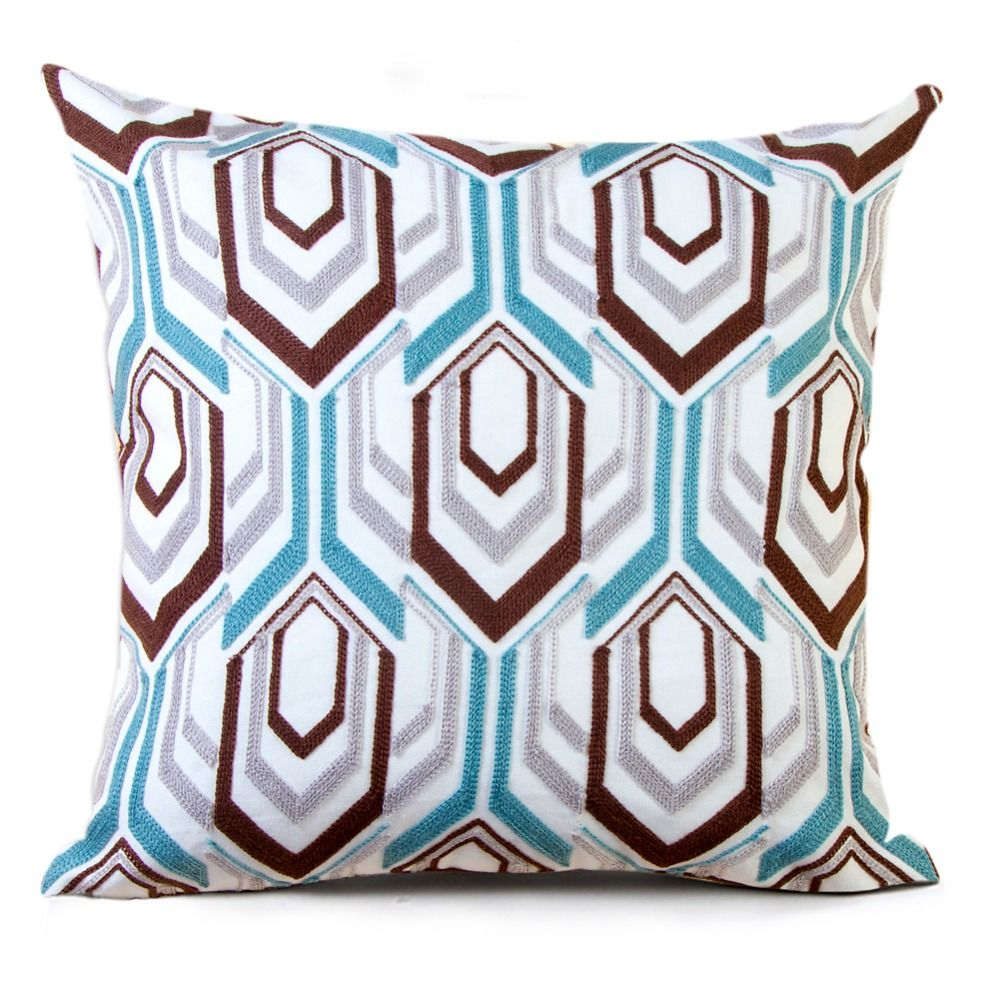 Homing high quality embroidery cotton cushion cover modern geometric