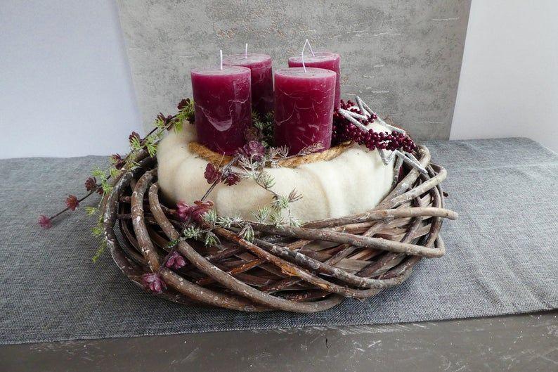 Doppelter Adventskranz Beere Decor Table Decorations Advent