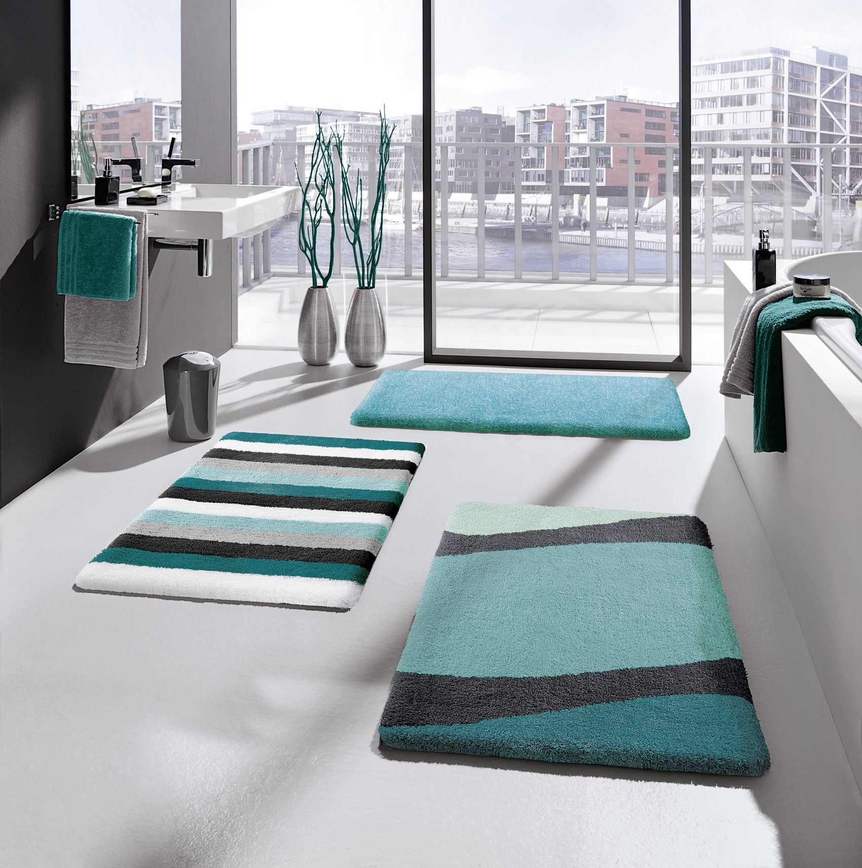 Who Doesn T Love This Gorgeous Cooling And Refreshing Shade Mix Fresh Aqua Tones With White And Feel Yo Large Bathroom Rugs Large Bath Rugs Long Bathroom Rugs [ 1713 x 1701 Pixel ]