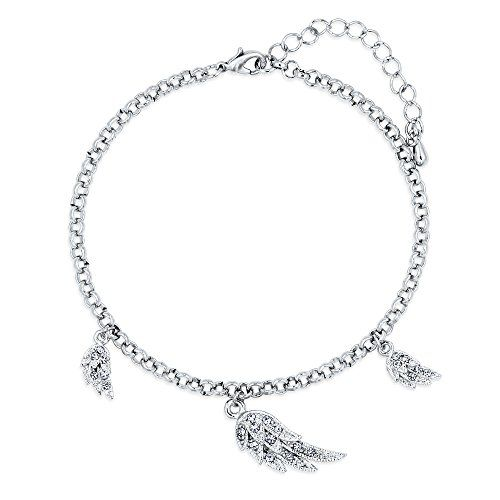"""BERRICLE Silver-Tone Rhinestone Angel Wings Charm Anklet 9""""   2"""" Extender * Click image for more details."""