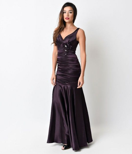 1930s Style Eggplant Ruched Tank Rose Gown $88.00