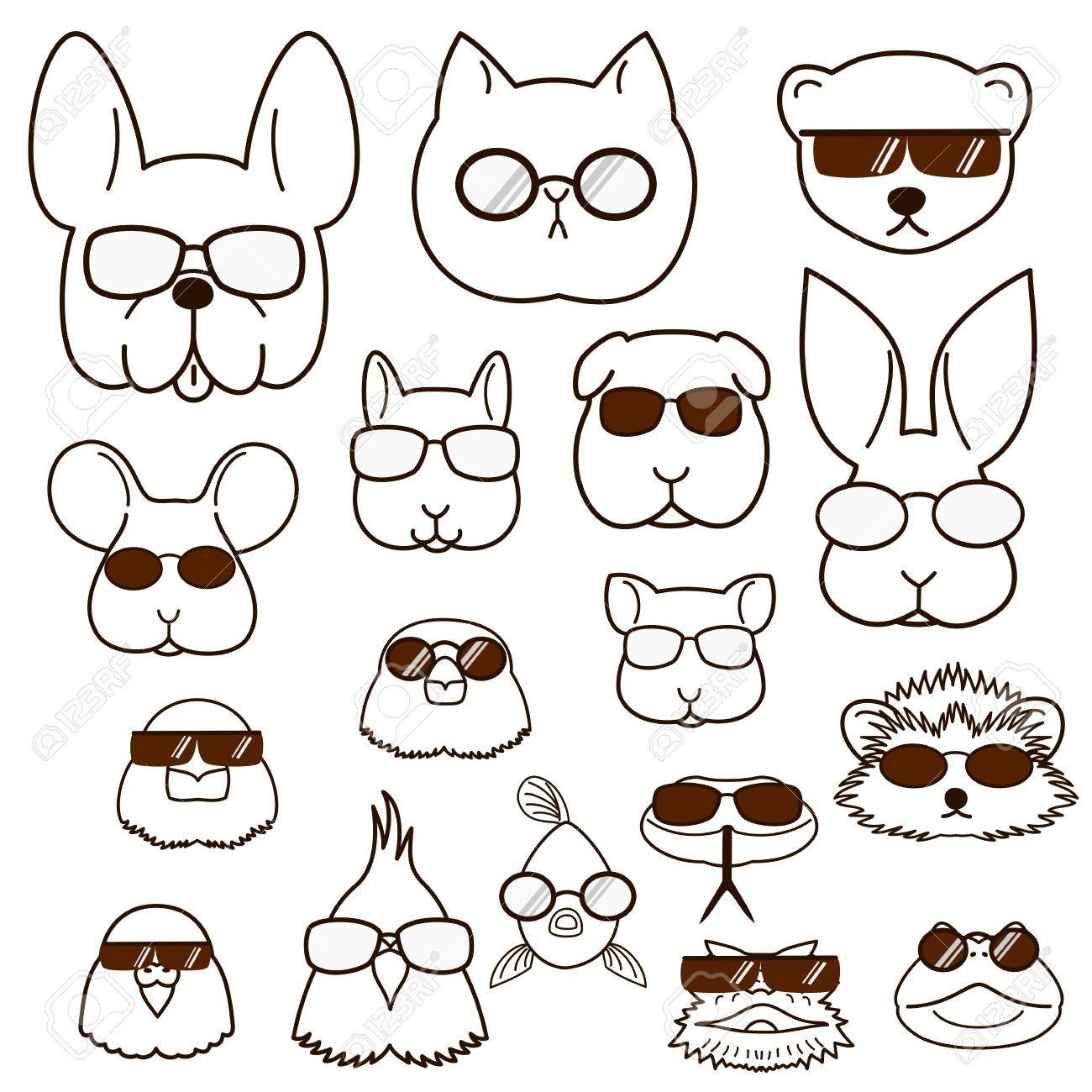 animaux de compagnie visés avec des lunettes réglés Banque d'images