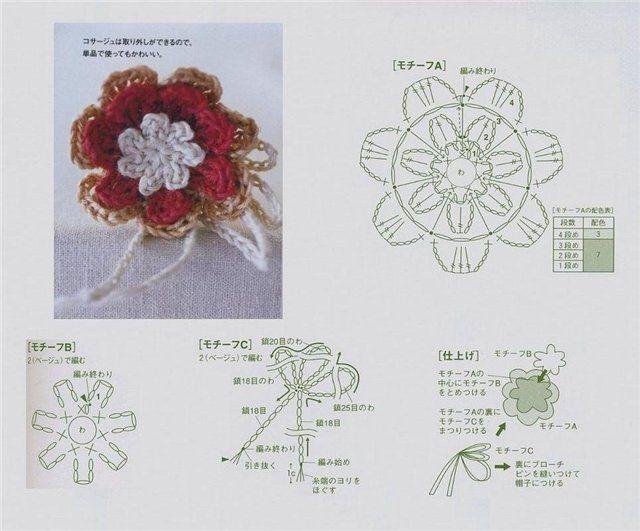 Flor crochet patron | crochet flowers | Pinterest | Broche tejido ...