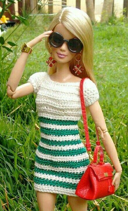 Pin von Maminette Maminette auf b : Barbie robe courte au crochet ...