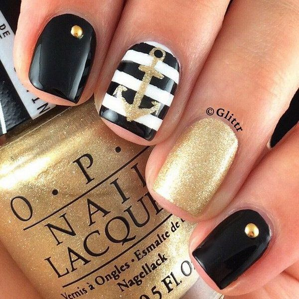 50 Cool Anchor Nail Art Designs Pinterest Manicure Gold And Black
