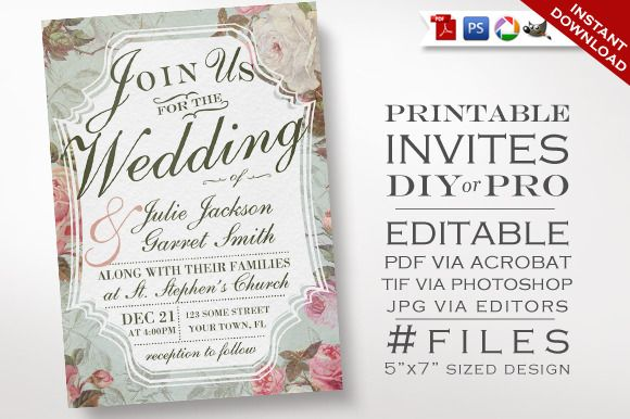 Wedding Invitation - Vintage Rose | Invitation templates