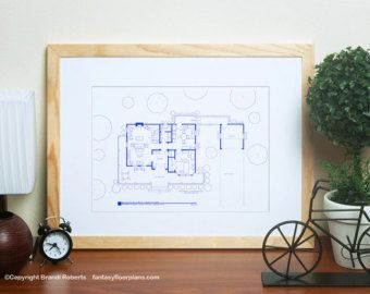 Gilmore girls poster tv show floor plan blueprint art for gilmore girls poster tv show floor plan blueprint art for residence of lorelai and malvernweather Image collections