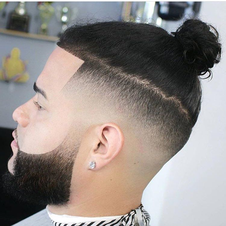 Our Wahlcutoftheday Is This Fade And Man Bun Combo By