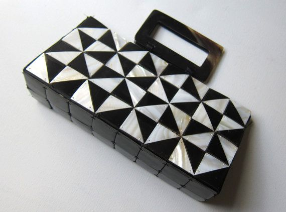 Vintage black and white mother of pearl tile and tortoiseshell evening purse