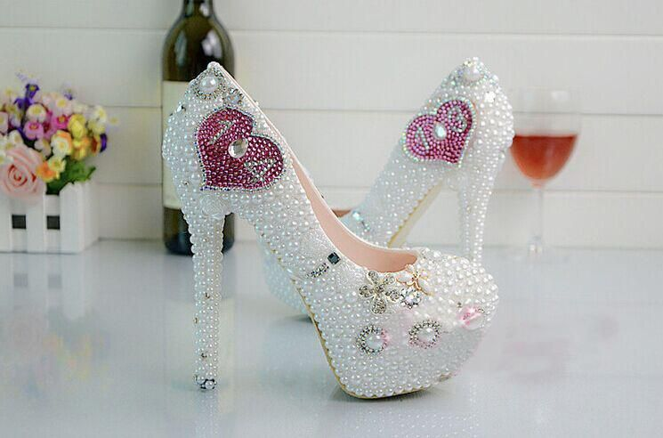 Wholesale Fashion Luxurious Pearls Crystals Wedding Shoes Custom Made High Heel Bridal Shoes Party Prom Women Shoes, Free shipping, $104.82/Pair   DHgate Mobile