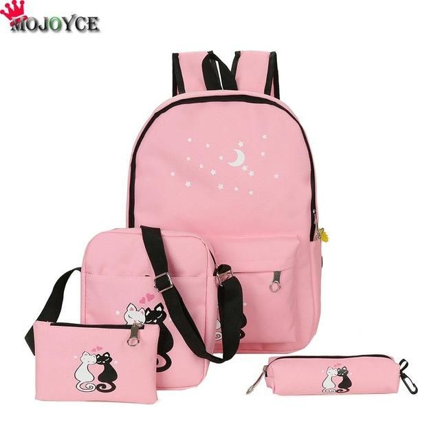 b7c120ac61 Women Backpack Cat Printing Canvas School Bags For Teenager Girls Preppy  Style 4 PCS/SET