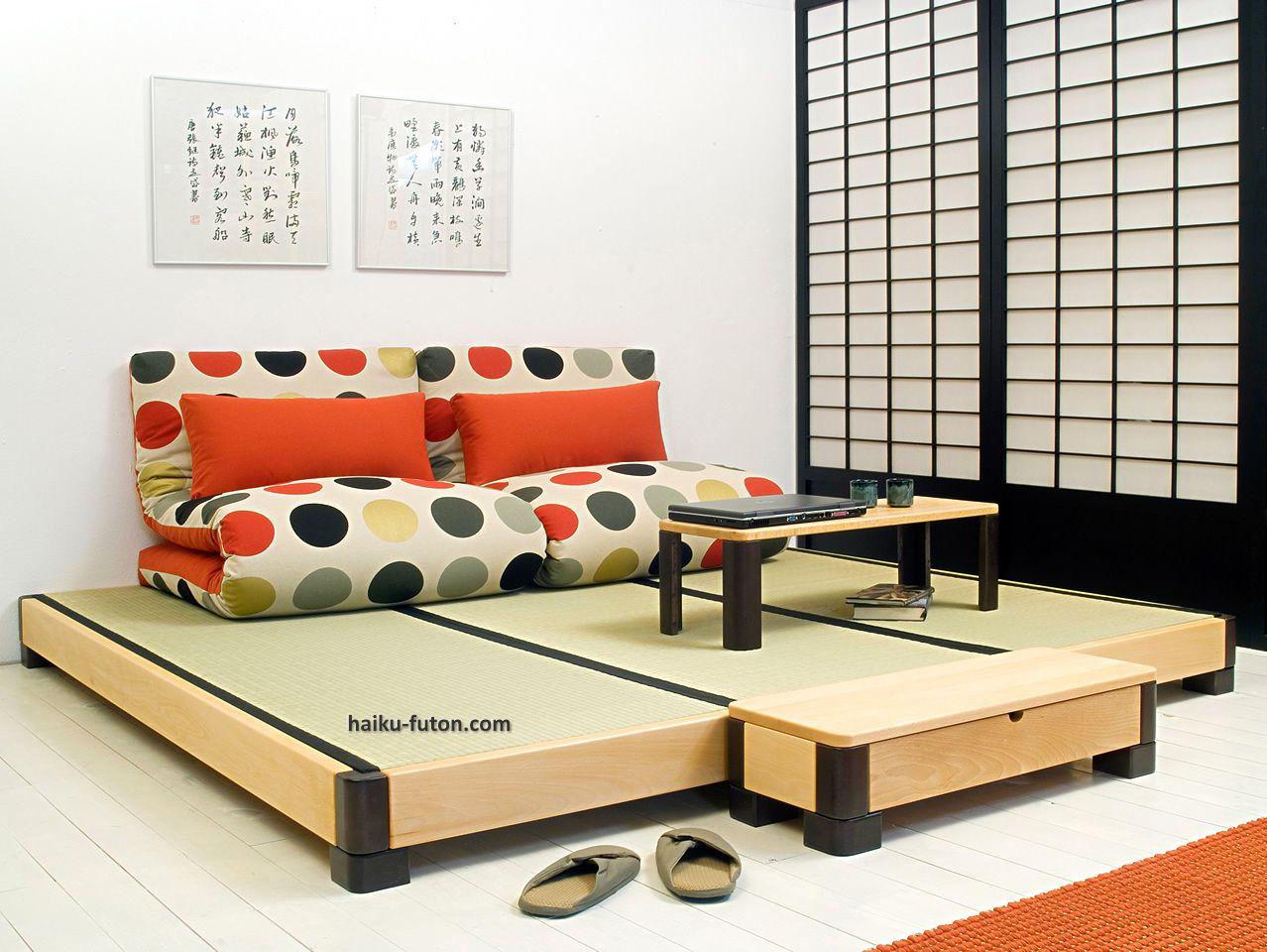3 - Cama Ocean Tatamis con mesa baja larga y mesa estudio - futones ...