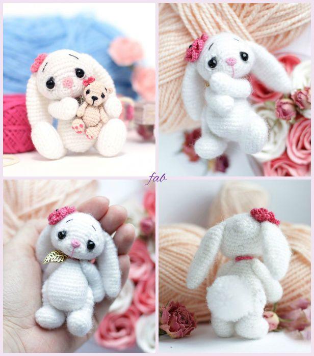 Crochet Amigurumi Bunny Free Patterns | Muñecos de tela, Osos y Tela