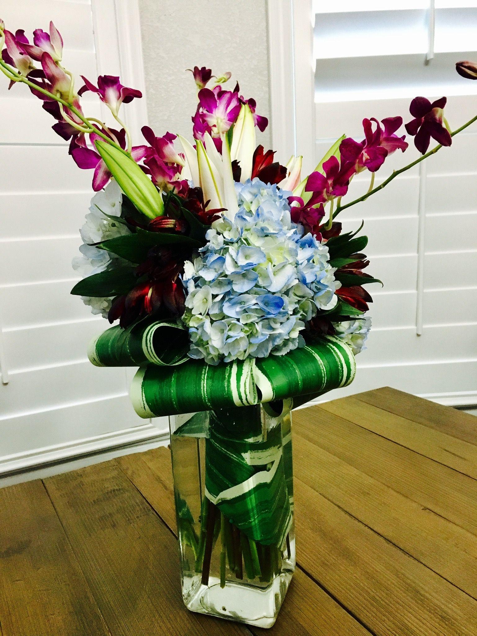 Happy Mother S Day Flower Arrangement Using Blue Hydrangeas