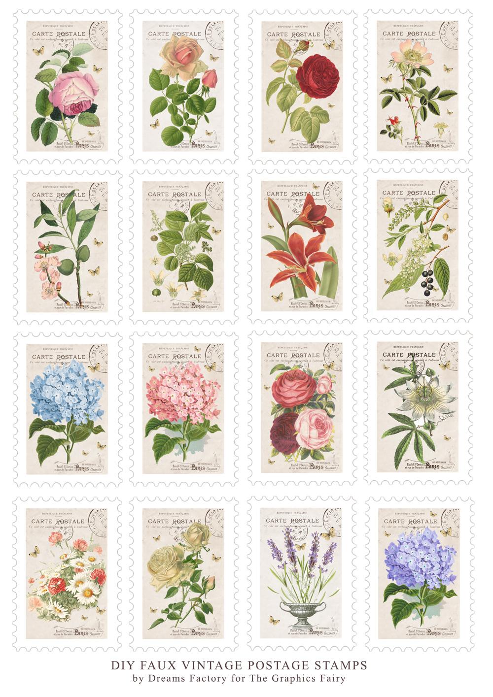 Diy Faux Vintage Postage Stamps Free Printable Free Printable The Graphics Fairy Vintage Postage Stamps Scrapbook Stickers Printable Vintage Stamps