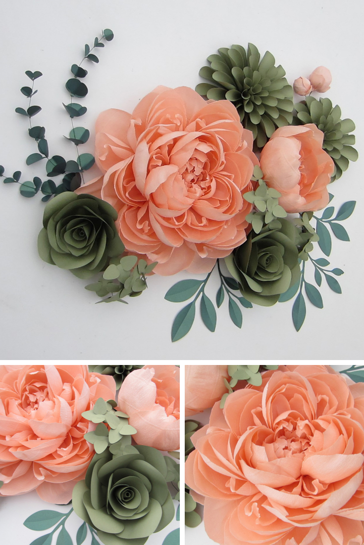 Set of Large Paper Flowers with Crepe Paper Peonies, Nursey Wall Decor, Paper Flower Backdrop