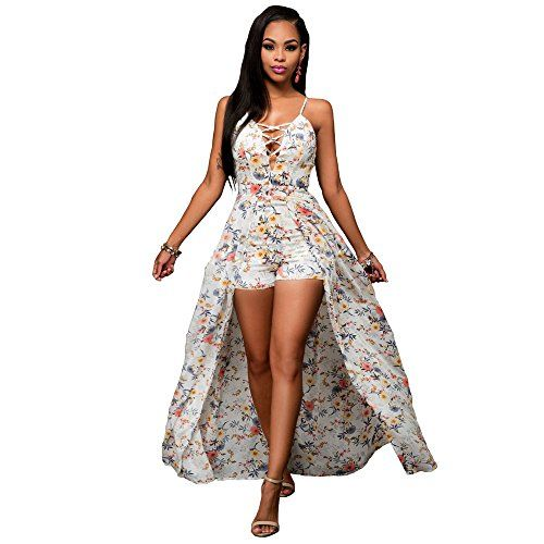 14acabe959 Irirgo Womens Lace Up Spaghetti Strap Floral Print Maxi Dress Overlay  Rompers Jumpsuit