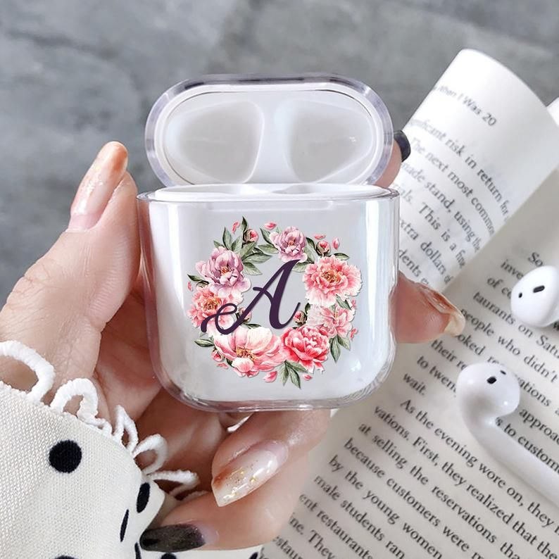 Monogram Airpods Case Personalized Apple Airpod Cover Case Etsy In 2021 Floral Iphone Case Floral Iphone Clear Iphone Case