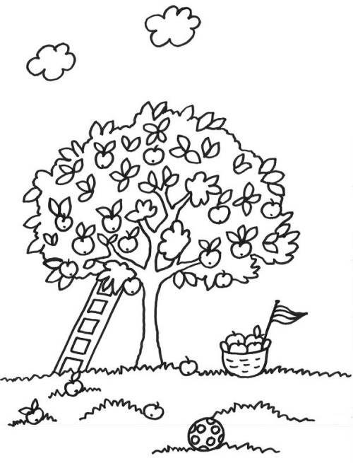 Bäume Baum mit Leiter zum Ausmalen Ausmalen