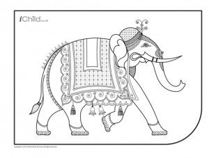 Indian Elephant Colouring in picture 10 - iChild  Elephant