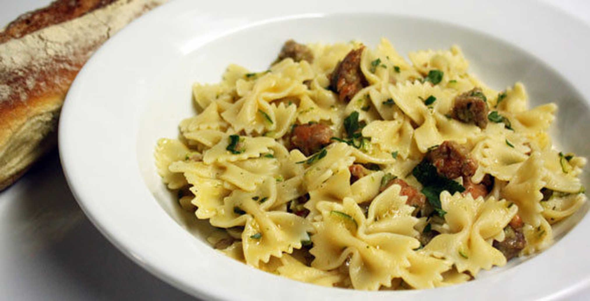 Farfalle with Hot Sausage and Zucchini.