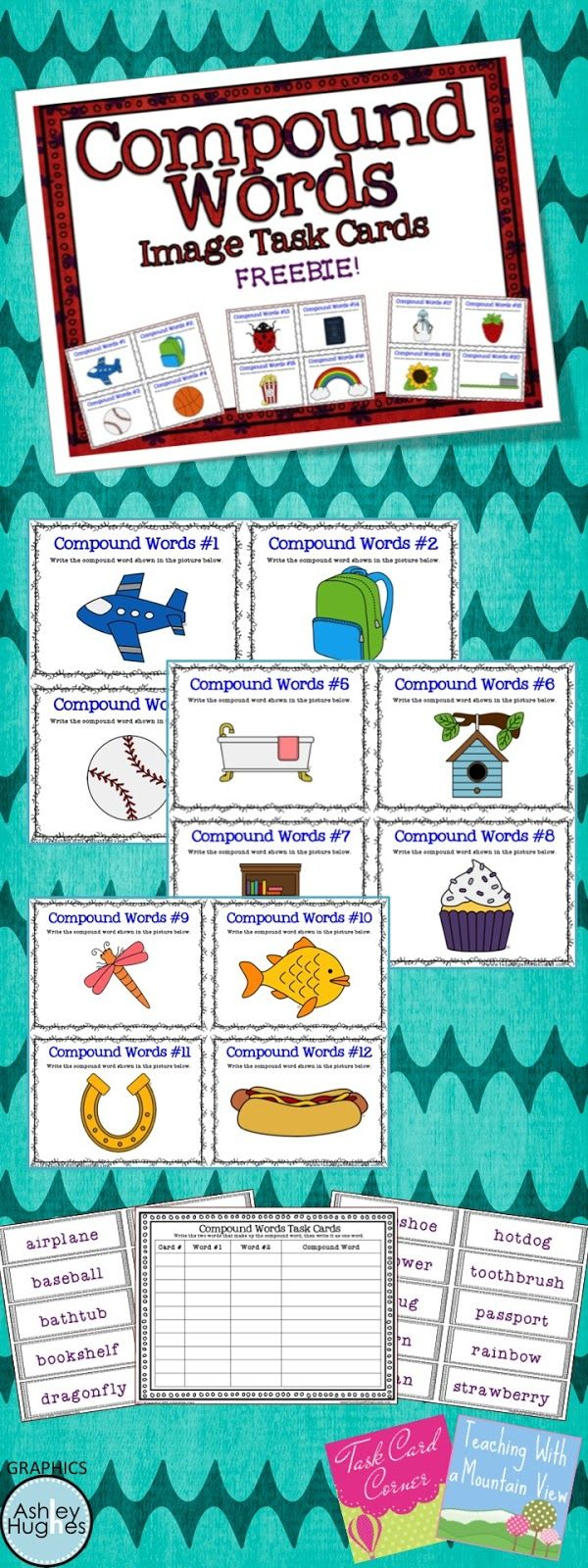 Classroom Freebies Too Is More Freebies For More Teachers Compound Words Task Cards Compound Words Activities [ 1600 x 600 Pixel ]