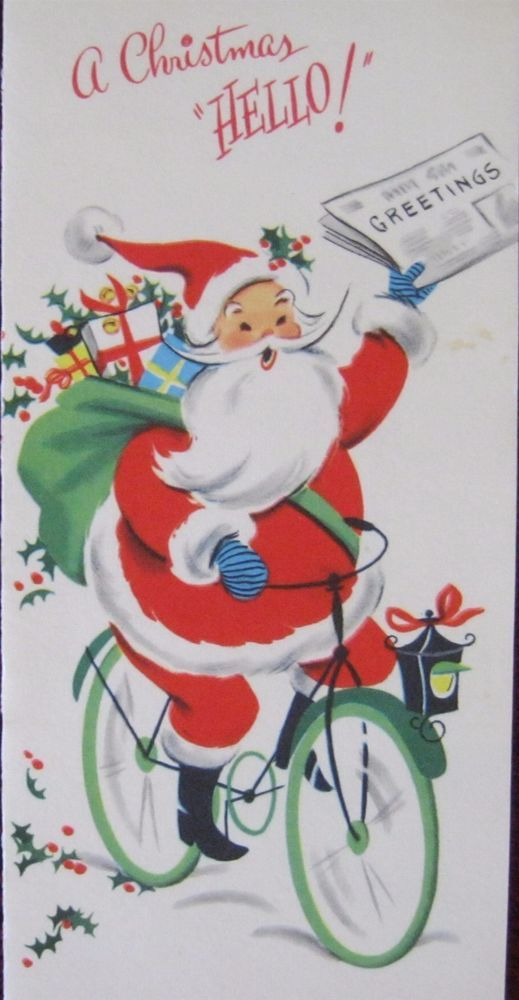 Vintage Christmas Card Santa Bicycle Delivering Newspaper Greeting ...