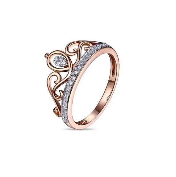 3ad95cddba40 Diamante 14 k rose oro corona anillo anillo corona por 609JEWELRY ...