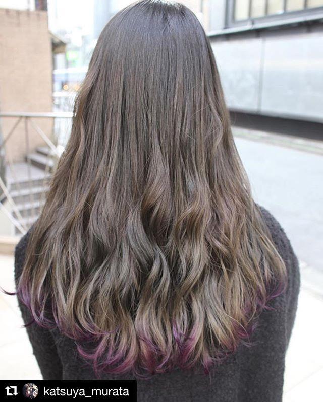 毛先のさりげないパープルがすごくカワイイです Haircolor Hairstyle Katsuya Murata さんの投稿 グレージュグラデーション 裾カラー Salondemilk Harajuku グレージュ グラデーション 裾カラー エンズ 髪 グラデーション グラデーション ヘアカラー 髪 色