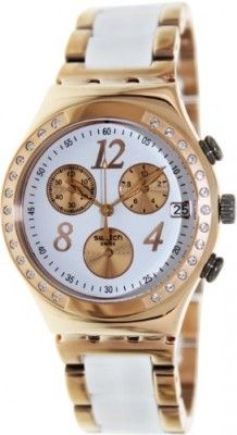 91e41d5916a Relógio Swatch Irony Dreamwhite Rose Chronograph Rose Gold-Tone Steel  Ladies Watch YCG406G  Relogios  Swatch