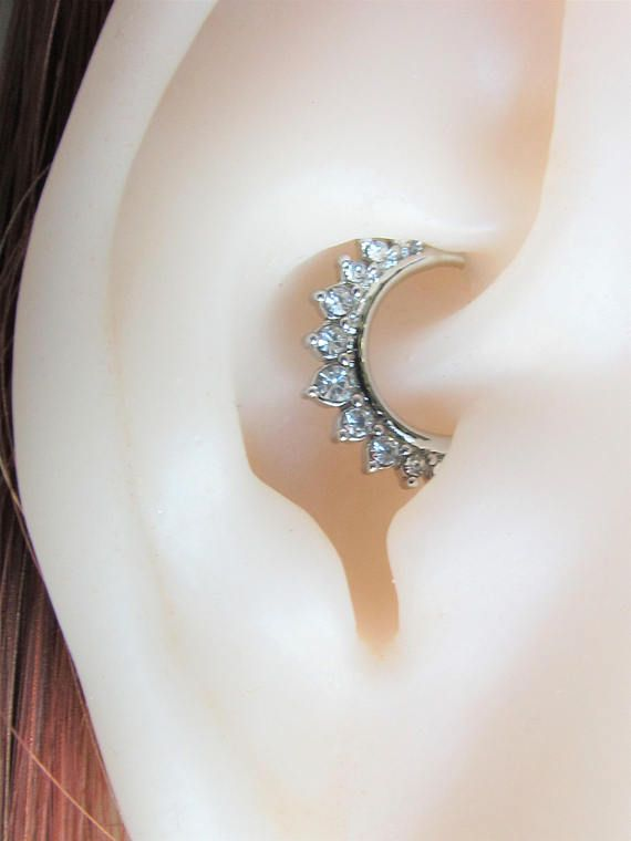 Daith Piercing Silver Color Multistone Cz Bendable Ring 16g 9mm