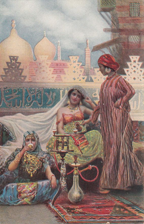 C1910 Middle Eastern Women Having Tea Domes Towers Hookah Etsy Middle Eastern Art Eastern Art Art