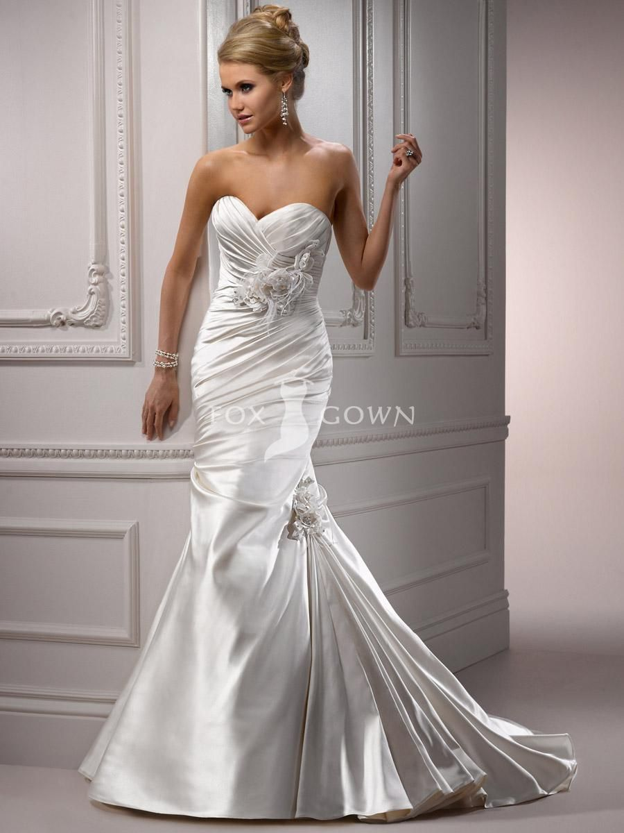 Mermaid wedding dresses with feather bottom  satin wedding dresses  Google Search  Wedding Dresses  Pinterest