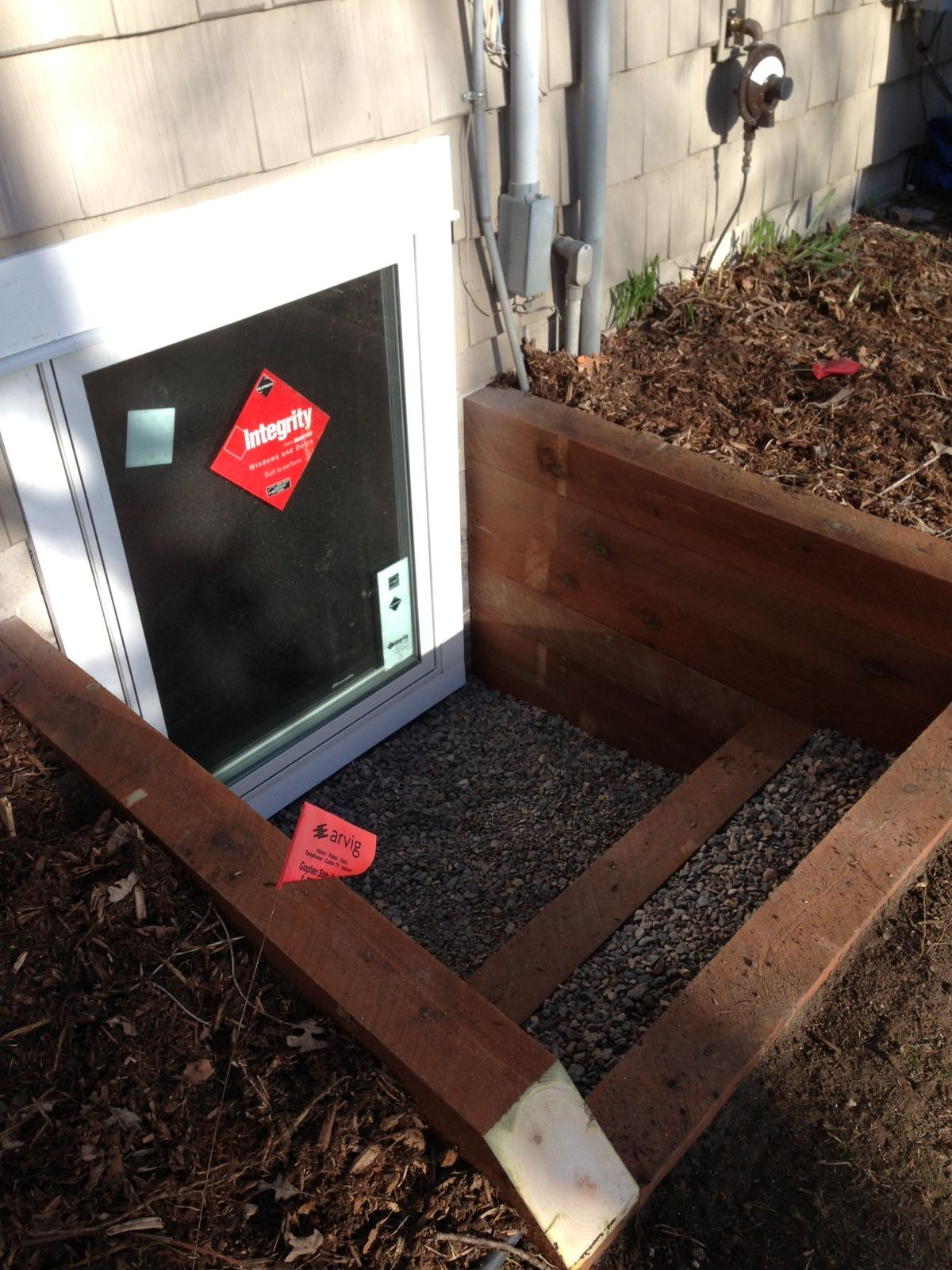 Egress window coverings  window  single window timber well with step  garden  pinterest