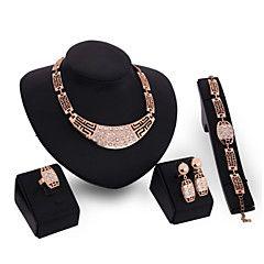 clássicas de comércio exterior anéis de casamento europeus e americanos brincos pulseira colar de jóias de ouro 18k quatro women61154092
